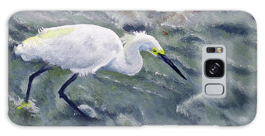 Egret Galaxy S8 Case featuring the painting Snowy Egret Near Jetty Rock by Adam Johnson