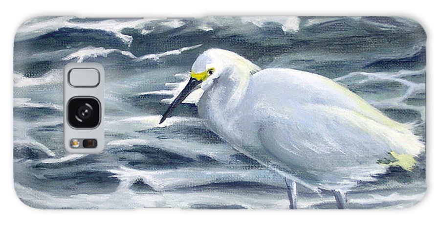 Egret Galaxy Case featuring the painting Snowy Egret On Jetty Rock by Adam Johnson