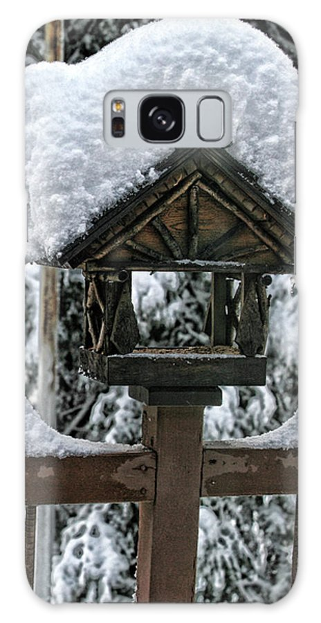 Snowy Galaxy S8 Case featuring the photograph Snowy Feeder by Bonnie Bruno