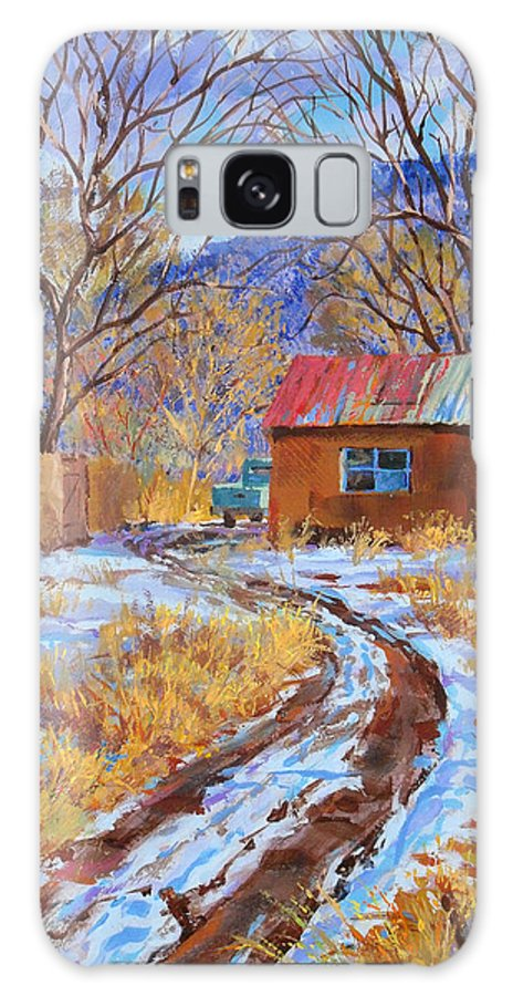 New Mexico Galaxy S8 Case featuring the painting Snowy Road Home by John Rose