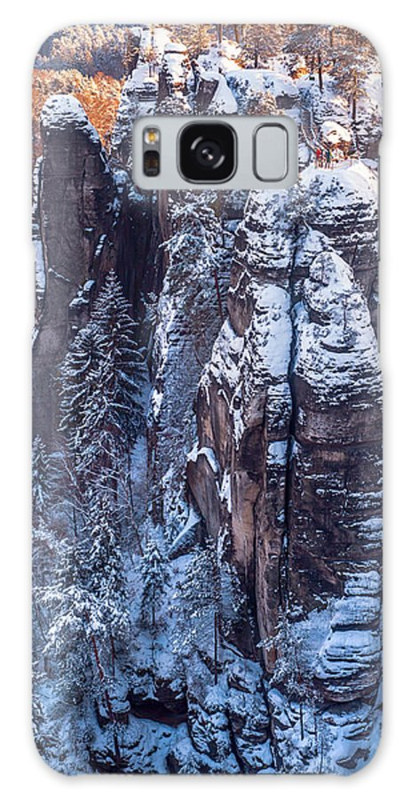 Jenny Rainbow Fine Art Photography Galaxy S8 Case featuring the photograph Snowy Rocks. Saxon Switzerland by Jenny Rainbow