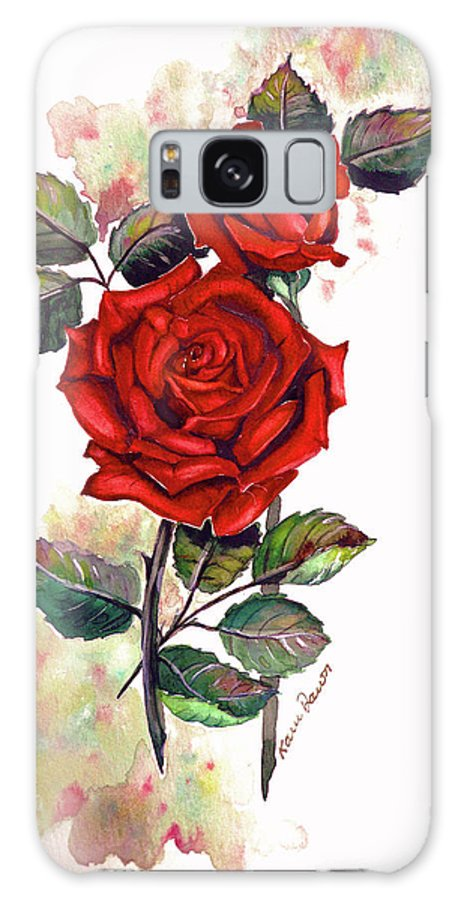 Red Rose Paintings Galaxy S8 Case featuring the painting So Red by Karin Dawn Kelshall- Best