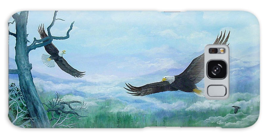Eagles;birds;river Valley;mountains;sky; Galaxy S8 Case featuring the painting Soaring by Lois Mountz