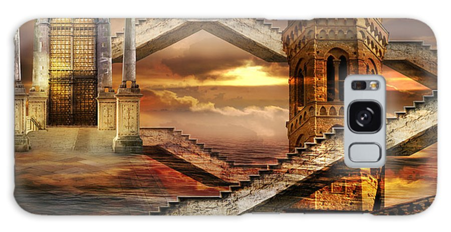 Surrealism Towers Air Clouds Doorway Ethereal Fantastic Flight Gate Sea Sky Soaring Submersed Wind Galaxy S8 Case featuring the photograph Soaring Towers by Desislava Draganova