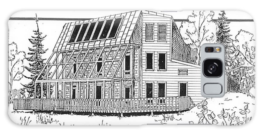 Sketch Galaxy S8 Case featuring the drawing Solar House by Ron Bissett