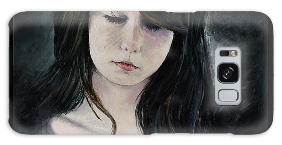 Girl Painting Woman Sexy Beautiful Cute Solemn Serious Thinking Thinker Bleek Dark Darkness Portrait Acrylic Painting Galaxy S8 Case featuring the painting Solemn by Priscilla Vogelbacher