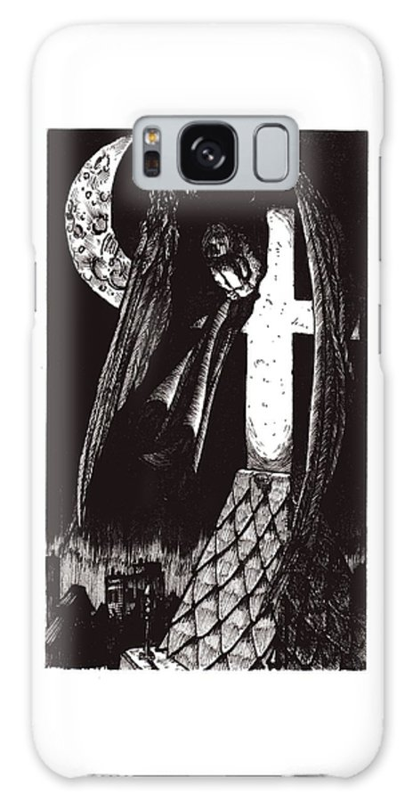 Angel Galaxy S8 Case featuring the drawing Solemn Vigil by Tobey Anderson