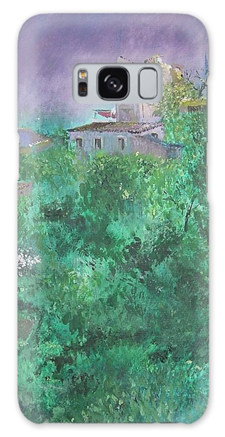 Impressionist Galaxy S8 Case featuring the painting Solitary Almond Tree In Blossom Mallorcan Valley by Lizzy Forrester