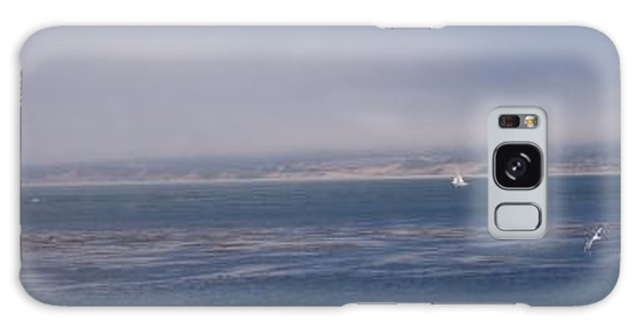 Sailing Outdoors Sail Ocean Monterey Bay Sea Seascape Boat Shoreline Sky Pacific Nature California Galaxy Case featuring the photograph Solo Sail In Monterey Bay by Pharris Art