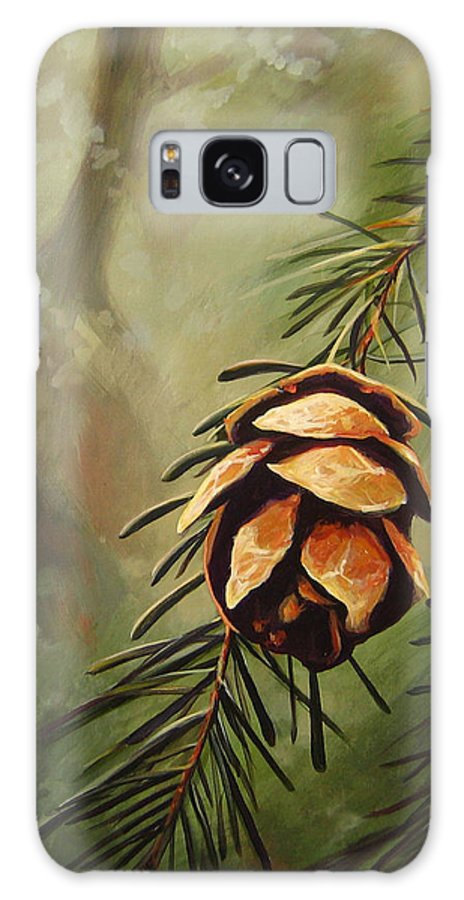 Closeup Of Spruce Cone Galaxy Case featuring the painting Solstice by Hunter Jay