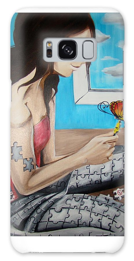 Blue Galaxy Case featuring the painting Solving The Puzzle by Meline Davalos