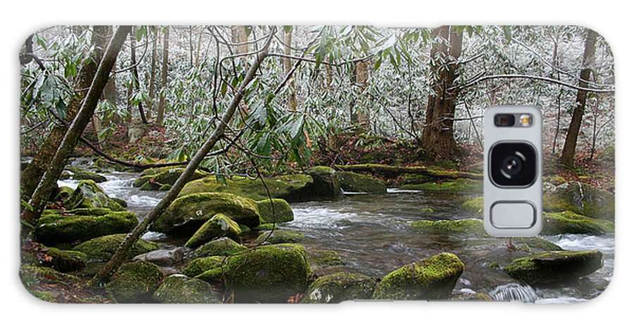 River Stream Creek Water Nature Rock Rocks Tree Trees Winter Snow Peaceful White Green Flowing Flow Galaxy S8 Case featuring the photograph Soothing by Andrei Shliakhau