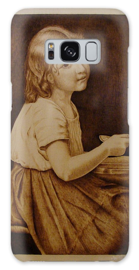Portrait; Soup; Stool; Spoon; Sepia; Skirt; Galaxy Case featuring the pyrography Soup by Jo Schwartz