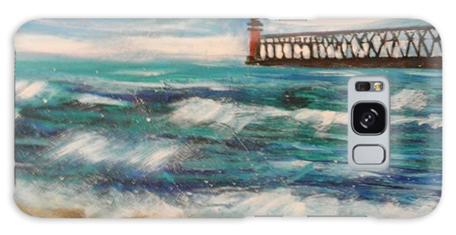 #lakemichigan Galaxy S8 Case featuring the painting South Haven Lighthouse by Linda Waidelich
