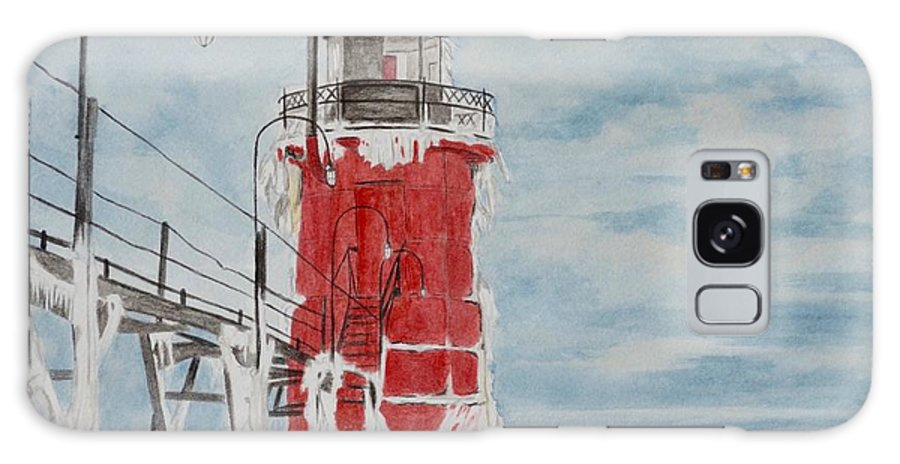 Lighthouse Galaxy Case featuring the painting South Haven Lighthouse, South Have, Michigan by Regan J Smith