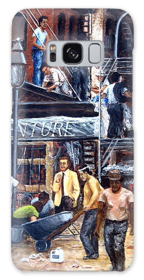 People Galaxy S8 Case featuring the painting South Street Seaport by Leonardo Ruggieri