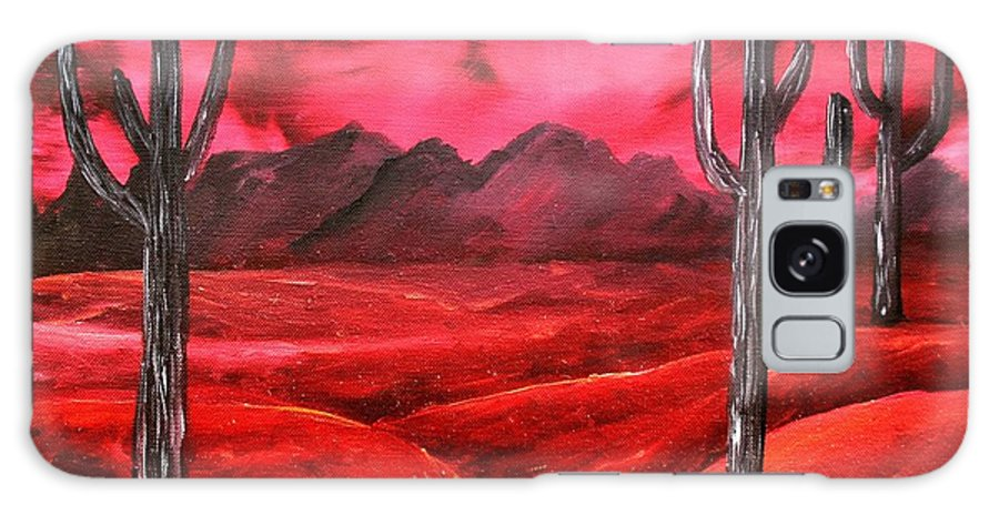 Red Galaxy Case featuring the painting Southwestern Abstract Oil Painting by Derek Mccrea
