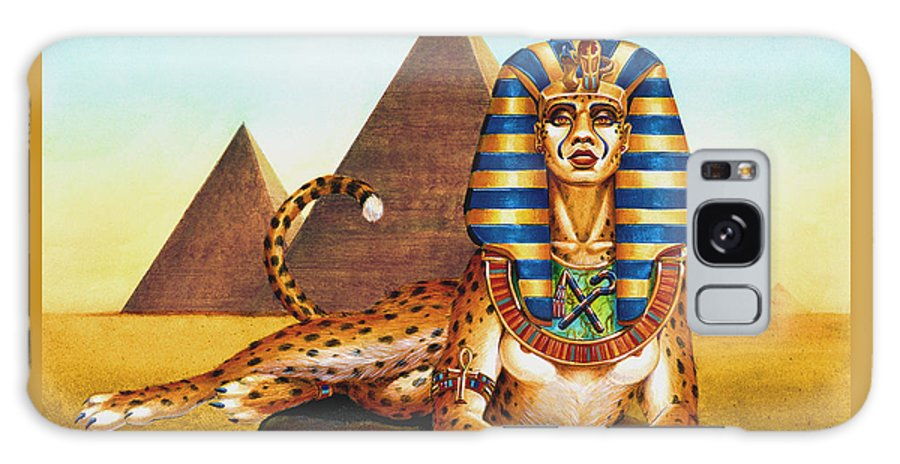 Cat Galaxy S8 Case featuring the painting Sphinx on Plinth by Melissa A Benson
