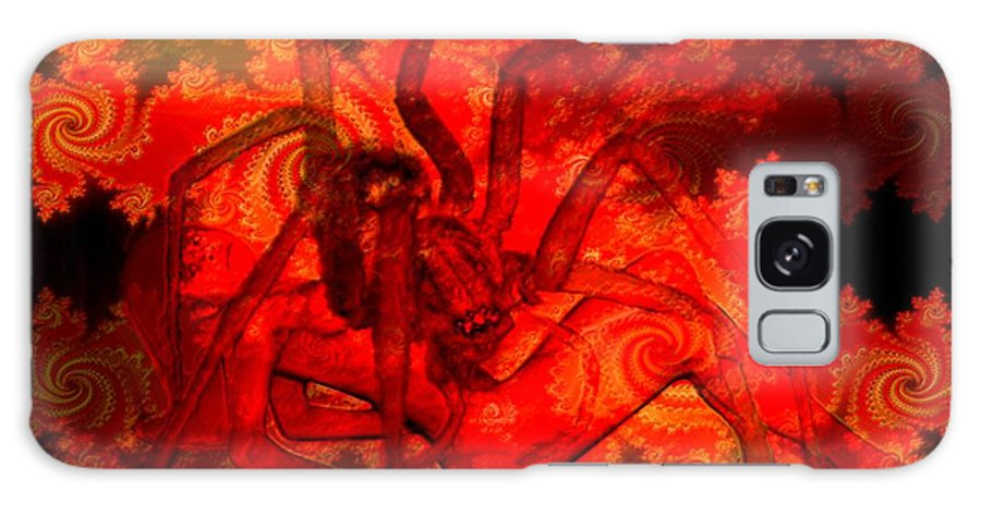 Spider Galaxy Case featuring the digital art Spider Catches Virgin In Space by Helmut Rottler