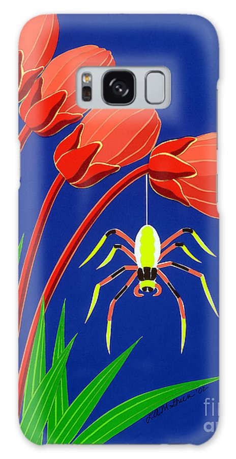 Nature Galaxy S8 Case featuring the drawing Spider by Lucyna A M Green