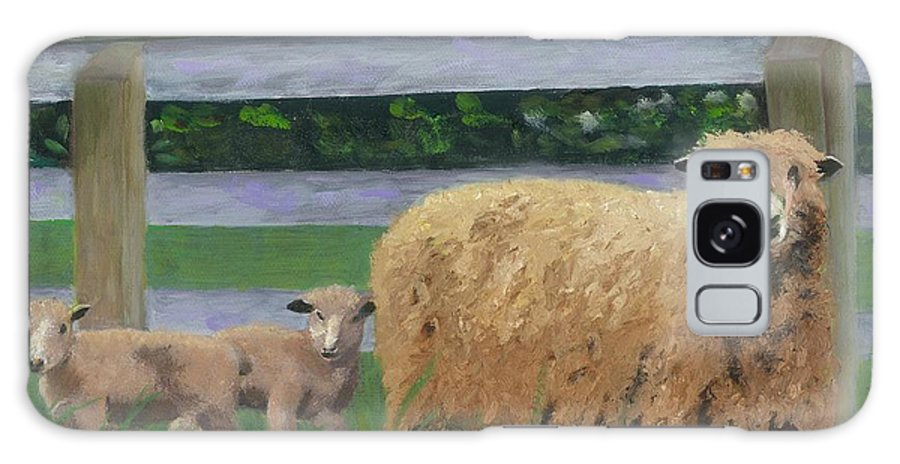 Sheep Lambs Countryside Farm Spring Galaxy Case featuring the painting Sping Lambs by Paula Emery