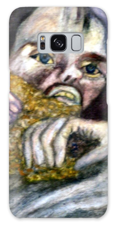 Spiritual Portrait Galaxy Case featuring the painting Sponge Christ Your Eyes by Stephen Mead