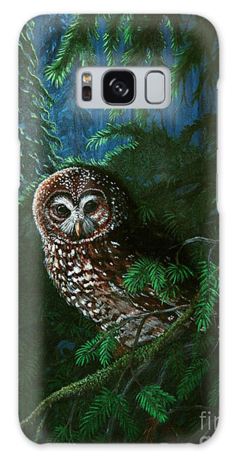 Owl Galaxy S8 Case featuring the painting Spotted Owl In Ancient Forest by Nick Gustafson