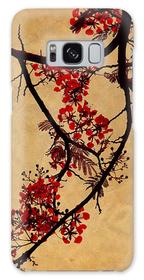 Spring Galaxy S8 Case featuring the photograph Spring Bloosom In Maldives. Flamboyant Tree I. Japanese Style by Jenny Rainbow