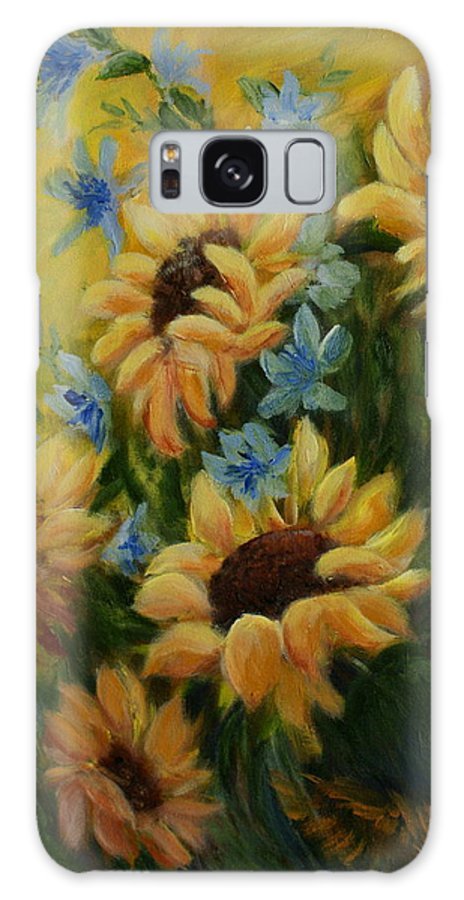 Daisies Galaxy S8 Case featuring the painting Sunflowers Galore by Joanne Smoley