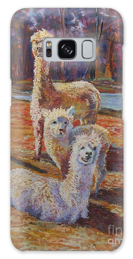Alpaca Galaxy S8 Case featuring the pastel Spring Celebration - Mothers And Child by Alicia Drakiotes