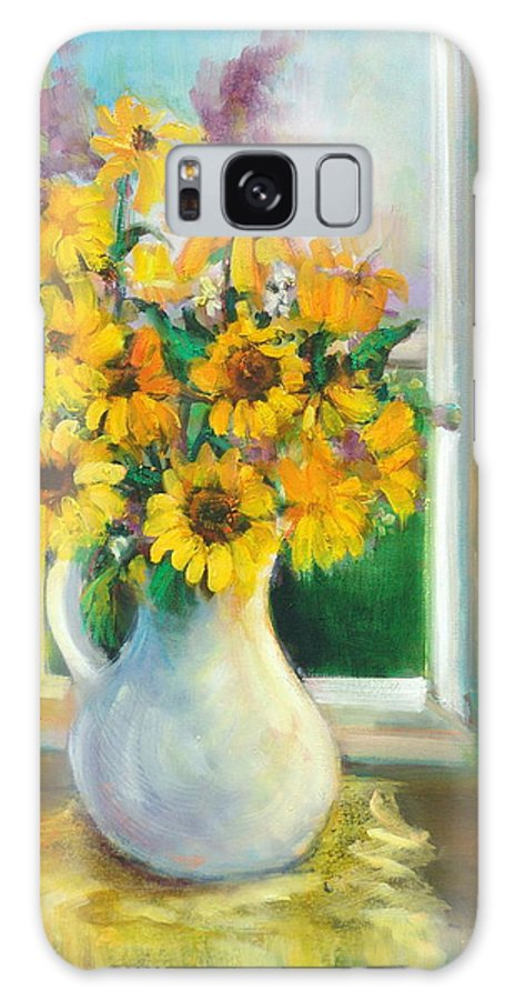 Flowers Galaxy S8 Case featuring the painting Spring Daisies by Sally Seago