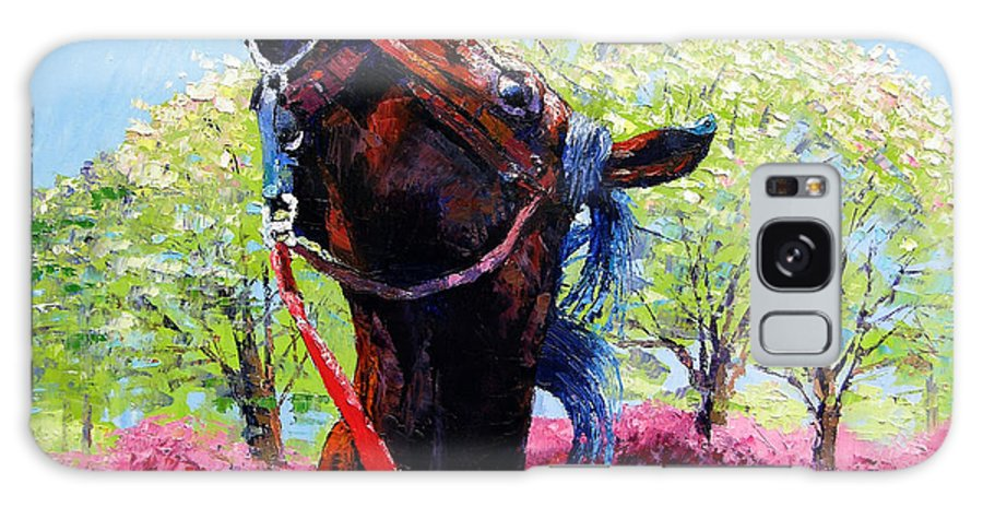 Horse Galaxy S8 Case featuring the painting Spring Fever by John Lautermilch