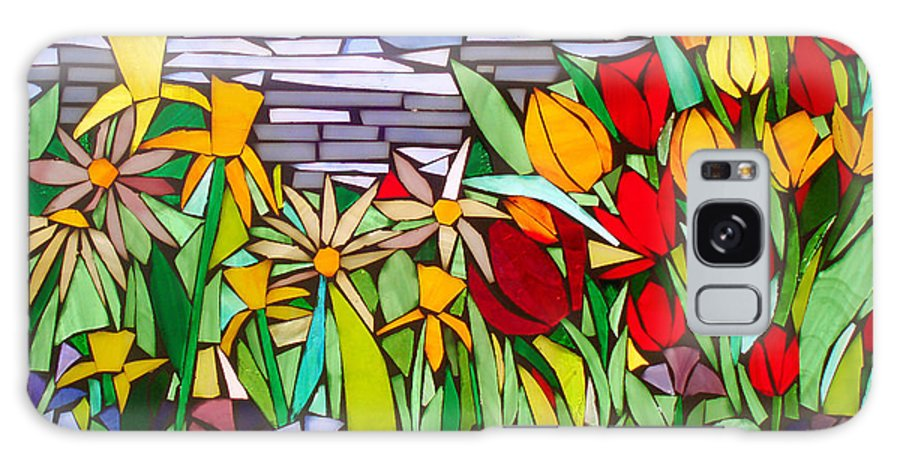 Flowers Galaxy Case featuring the glass art Spring Floral Mosaic by Liz Lowder