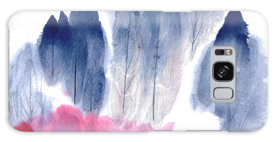 A Forest With Red Blooming Bushes In Spring. This Is A Contemporary Chinese Ink And Color On Rice Paper Painting With Simple Zen Style Brush Strokes.  Galaxy S8 Case featuring the painting Spring Forest by Mui-Joo Wee