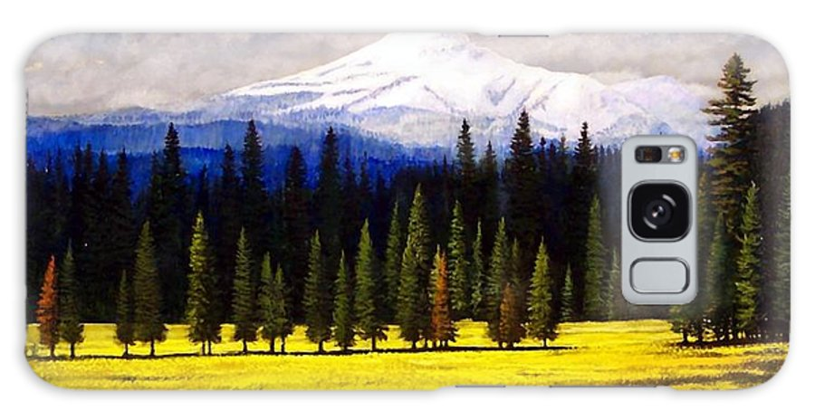 Landscape Galaxy Case featuring the painting Spring Meadow Mount Brokeoff by Frank Wilson