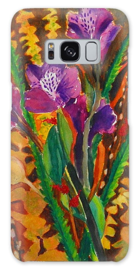Abstract Floral Galaxy S8 Case featuring the painting Spring Purple Bouquet by Henny Dagenais