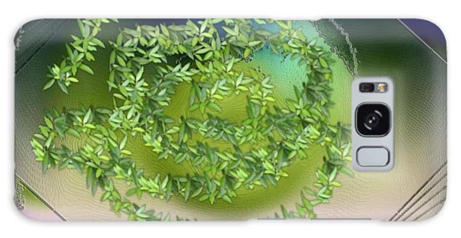 Glass.plate.leaves.salad.light.shadow.dish.kitchen.beauty.spring. Galaxy Case featuring the digital art Spring Salad On Glass Plate by Dr Loifer Vladimir