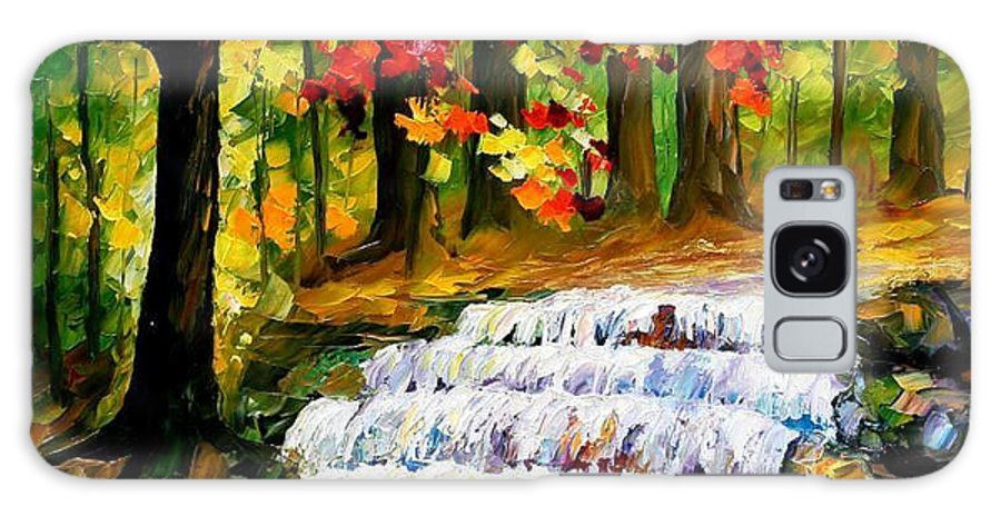 Art Gallery Galaxy S8 Case featuring the painting Spring Stream - Palette Knife Oil Painting On Canvas By Leonid Afremov by Leonid Afremov