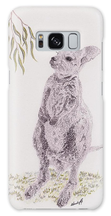 Kangaroo Galaxy S8 Case featuring the drawing Springtime Arrival by Wendy Brunell