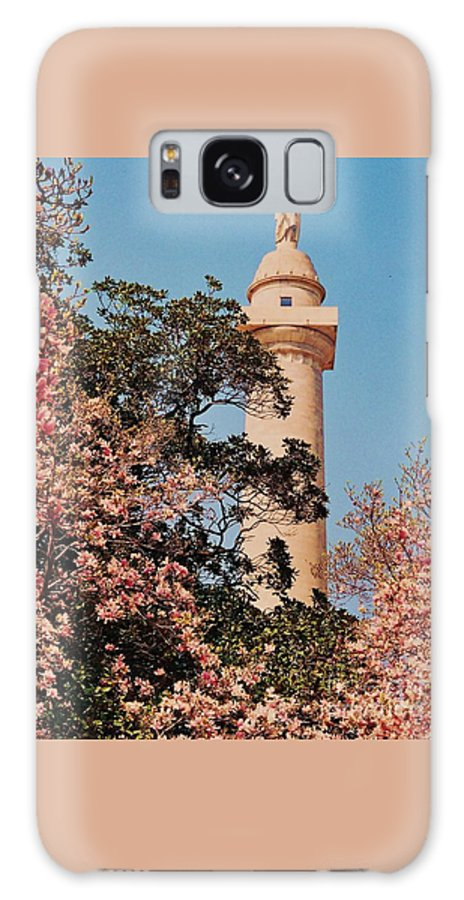 Washington Monument Spring Magnolias Baltimore Outdoors Mount Vernon District Trees History Landmark Urban Pastel Vertical Format City Life Wood Print Metal Frame Canvas Print Poster Print Available On Greeting Cards T Shirts Tote Bags Spiral Notebooks Shower Curtains Beach Towels Yoga Mats And Mugs Galaxy S8 Case featuring the photograph Springtime In Baltimore # 4 by Marcus Dagan