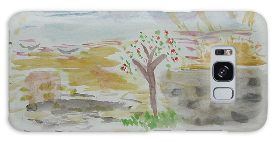 Landscape Galaxy S8 Case featuring the drawing Spring.tree.sun. Water Color 1993 by Dr Loifer Vladimir