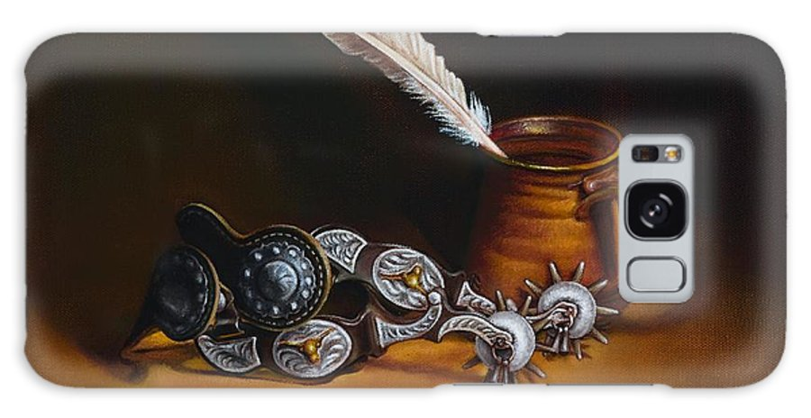 Spurs Galaxy Case featuring the painting Spurs And Hand Made Pottery And Feather by Mahto Hogue