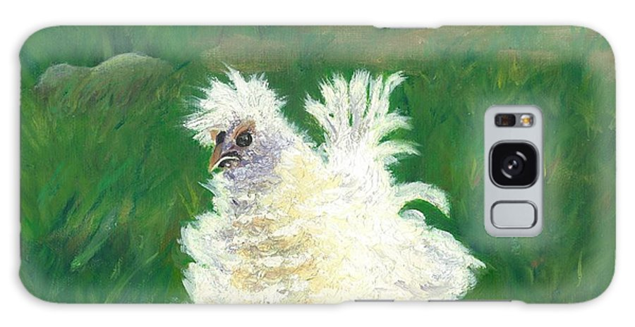 Bantam Frizzle Farmscene Chickens Hen Bird Nature Animals Spring Freerangers Galaxy Case featuring the painting Squiggle by Paula Emery