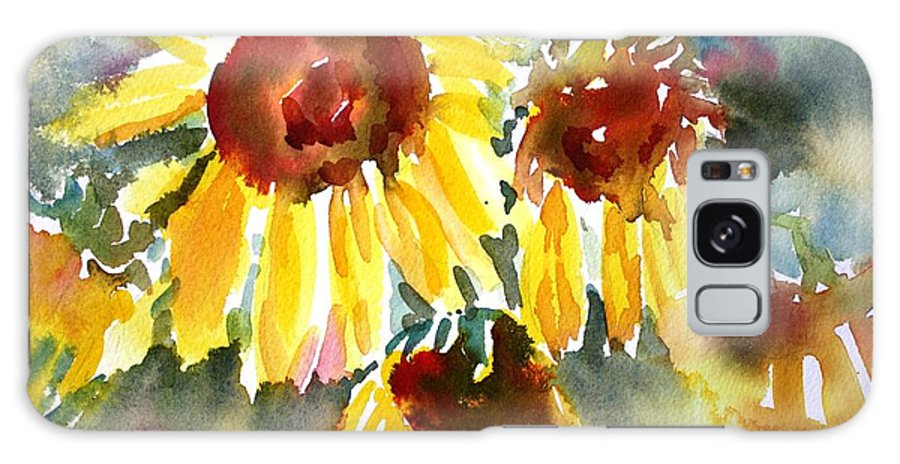 Sunflower Galaxy Case featuring the painting St. Charmand Sunflowers by Tara Moorman