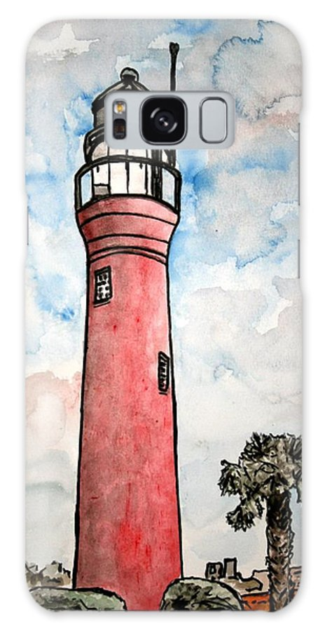 Lighthouse Galaxy S8 Case featuring the painting St Johns River Lighthouse Florida by Derek Mccrea