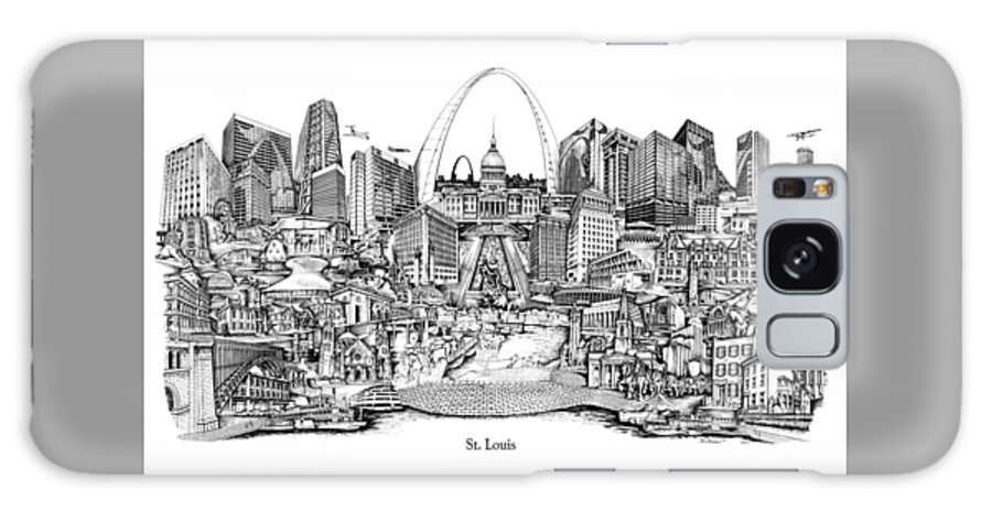 City Drawing Galaxy Case featuring the drawing St. Louis 4 by Dennis Bivens
