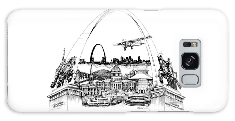 City Drawing Galaxy S8 Case featuring the drawing St. Louis Highlights Version 1 by Dennis Bivens