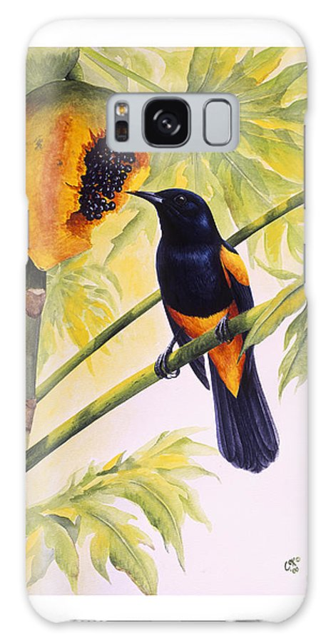Chris Cox Galaxy Case featuring the painting St. Lucia Oriole And Papaya by Christopher Cox