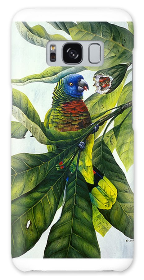 Chris Cox Galaxy S8 Case featuring the painting St. Lucia Parrot And Fruit by Christopher Cox