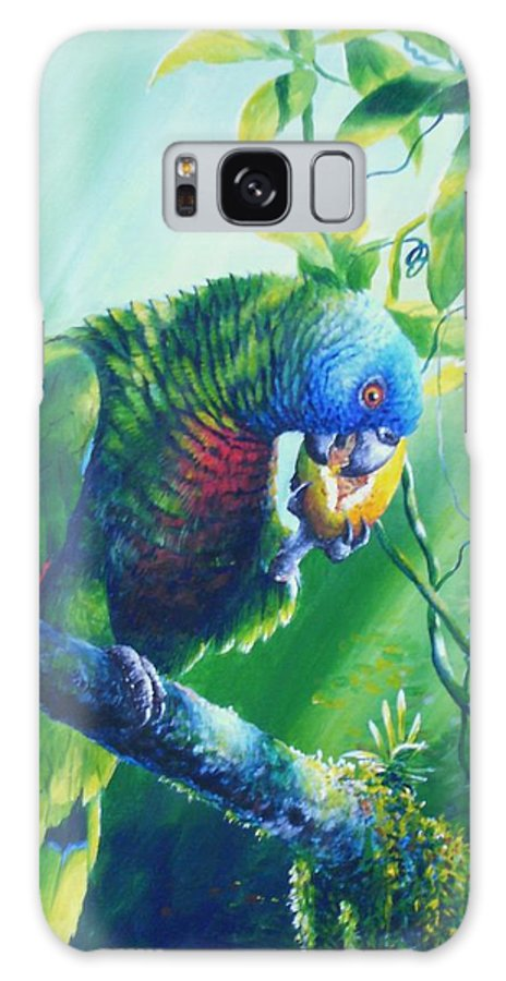 Chris Cox Galaxy S8 Case featuring the painting St. Lucia Parrot And Wild Passionfruit by Christopher Cox